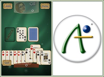 Android Gin Rummy screenshot and Antix Labs logo